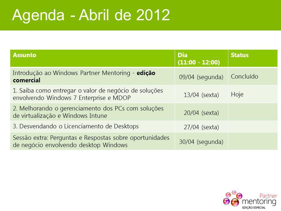 Agenda - Abril de 2012 AssuntoDia (11:00 - 12:00) Status Introdução ao Windows Partner Mentoring - edição comercial 09/04 (segunda) Concluído 1.
