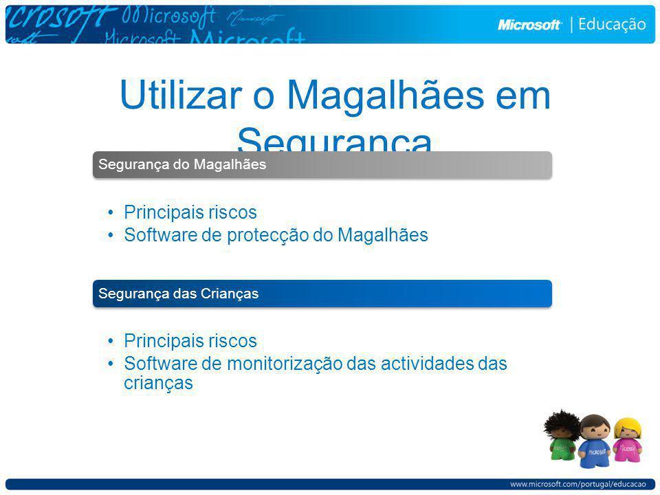 Utilizar o Magalhães em Segurança Segurança do Magalhães Principais riscos Software de protecção do Magalhães Segurança das Crianças Principais riscos Software de monitorização das actividades das crianças