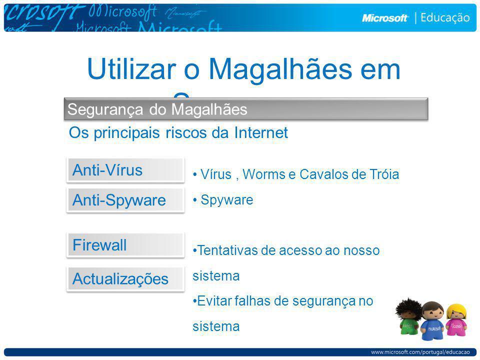 Utilizar o Magalhães em Segurança Segurança do Magalhães Os principais riscos da Internet Vírus, Worms e Cavalos de Tróia Spyware Tentativas de acesso ao nosso sistema Evitar falhas de segurança no sistema Anti-Vírus Anti-Spyware Firewall Actualizações