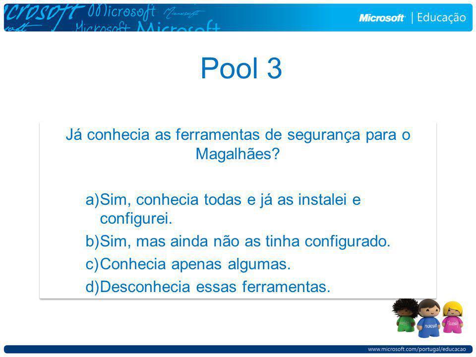 Pool 3 Já conhecia as ferramentas de segurança para o Magalhães.