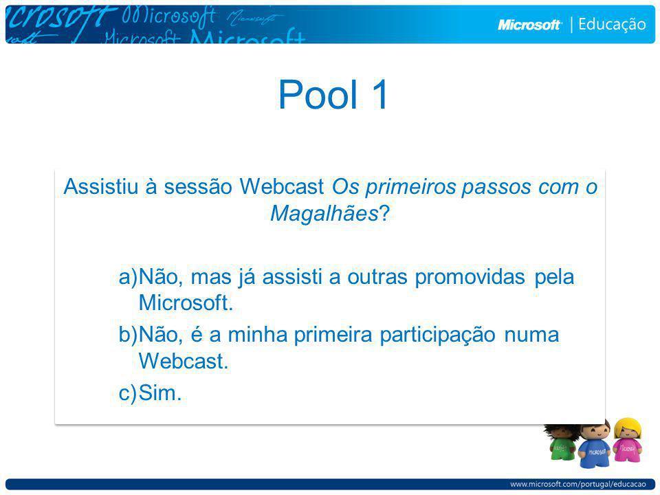 Pool 1 Assistiu à sessão Webcast Os primeiros passos com o Magalhães.
