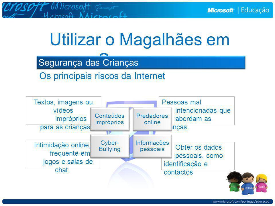 Utilizar o Magalhães em Segurança Segurança das Crianças Obter os dados pessoais, como identificação e contactos Textos, imagens ou vídeos impróprios para as crianças.