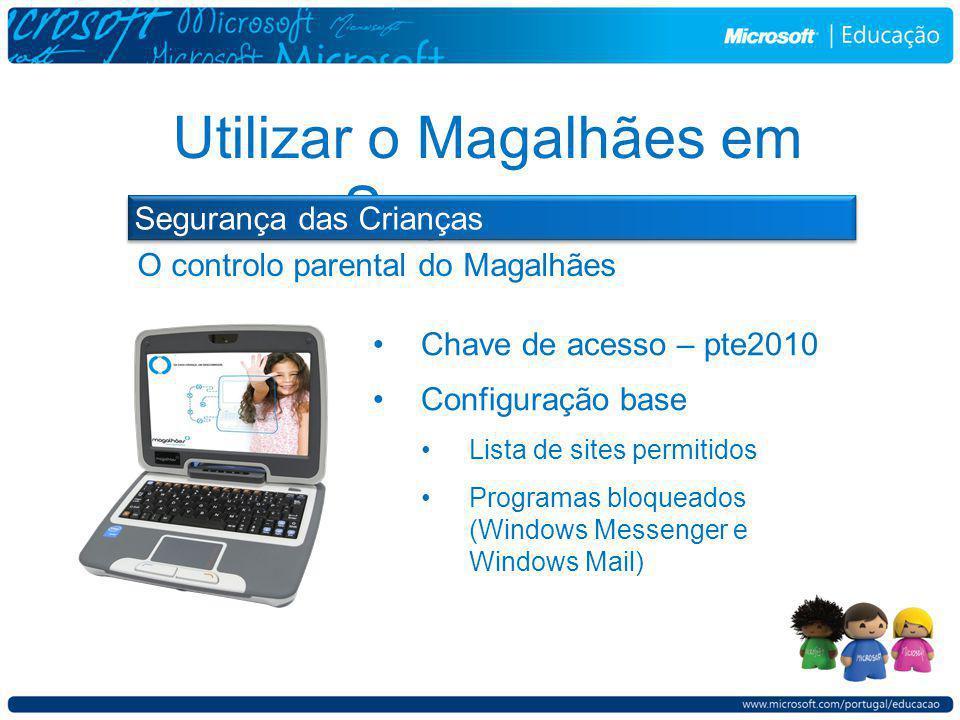 O controlo parental do Magalhães Utilizar o Magalhães em Segurança Segurança das Crianças Chave de acesso – pte2010 Configuração base Lista de sites permitidos Programas bloqueados (Windows Messenger e Windows Mail)