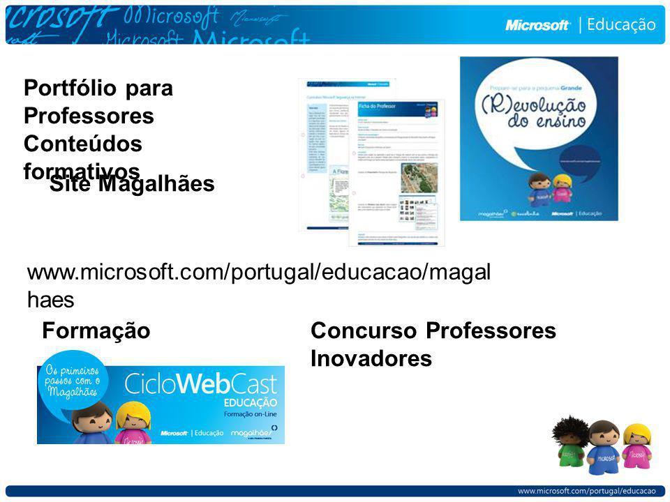 Portfólio para Professores Conteúdos formativos Site Magalhães www.microsoft.com/portugal/educacao/magal haes FormaçãoConcurso Professores Inovadores