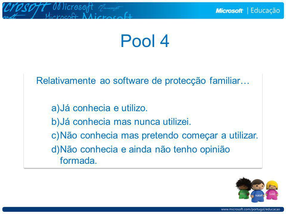 Pool 4 Relativamente ao software de protecção familiar… a)Já conhecia e utilizo.