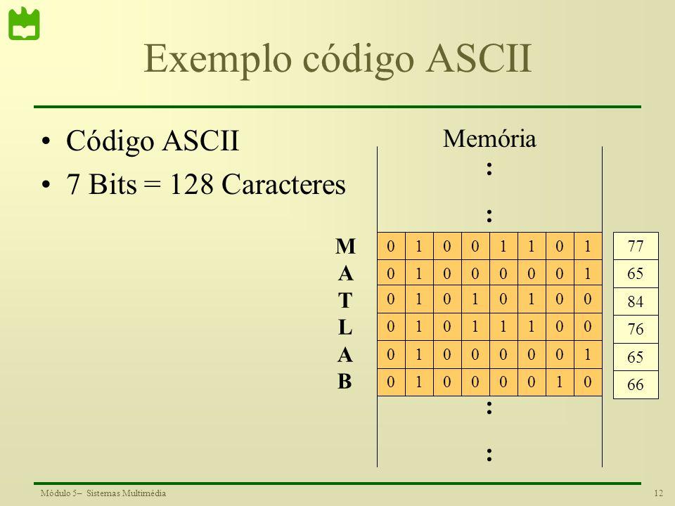12Módulo 5– Sistemas Multimédia Exemplo código ASCII Código ASCII 7 Bits = 128 Caracteres :::: :::: Memória 1001101 0 10000010101010001011100010000100