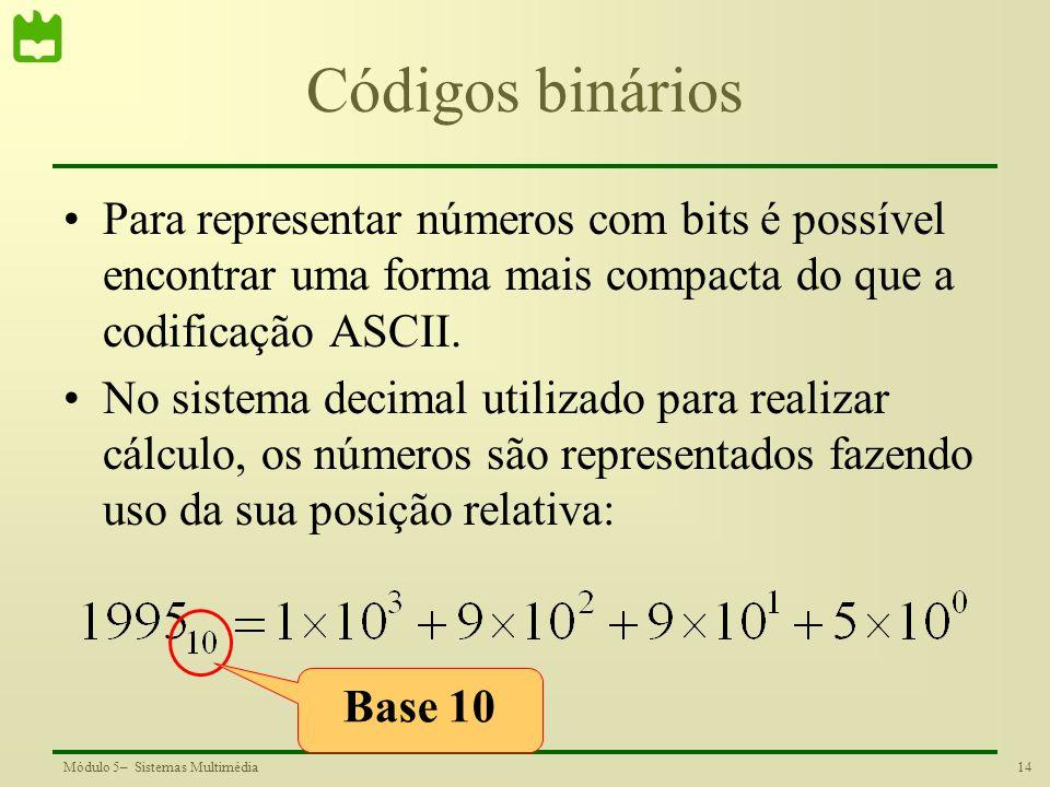 14Módulo 5– Sistemas Multimédia Códigos binários Para representar números com bits é possível encontrar uma forma mais compacta do que a codificação A