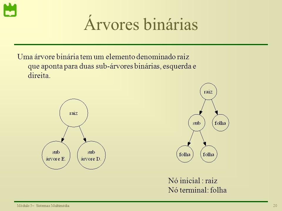 20Módulo 5– Sistemas Multimédia Árvores binárias Uma árvore binária tem um elemento denominado raiz que aponta para duas sub-árvores binárias, esquerd