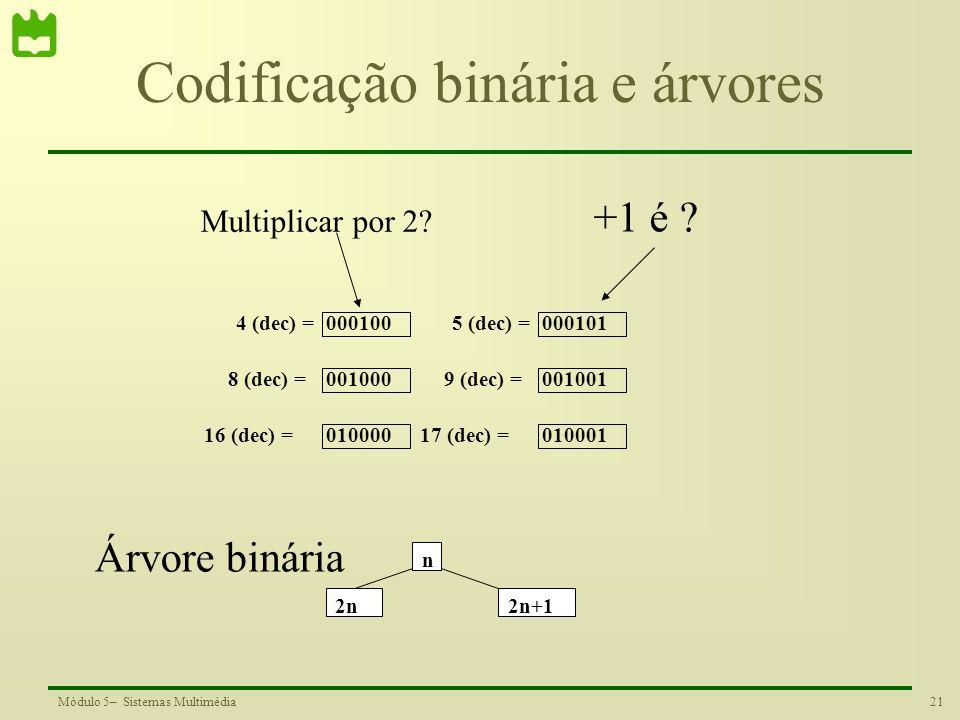 21Módulo 5– Sistemas Multimédia Codificação binária e árvores 4 (dec) = 8 (dec) = 16 (dec) = 000100 001000 010000 5 (dec) = 9 (dec) = 17 (dec) = 00010