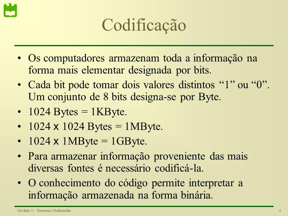 35Módulo 5– Sistemas Multimédia Tamanho da mensagem Mensagem com 2bits/símbolo: 26×2=52 bits Mensagem codificada com: 11×1+9×2+4×3+2×3=47 bits Número médio de bits por símbolo: 47/26=1.807 bps Valor próximo da entropia da mensagem Símbolos mais frequentes código com menor número de bits.