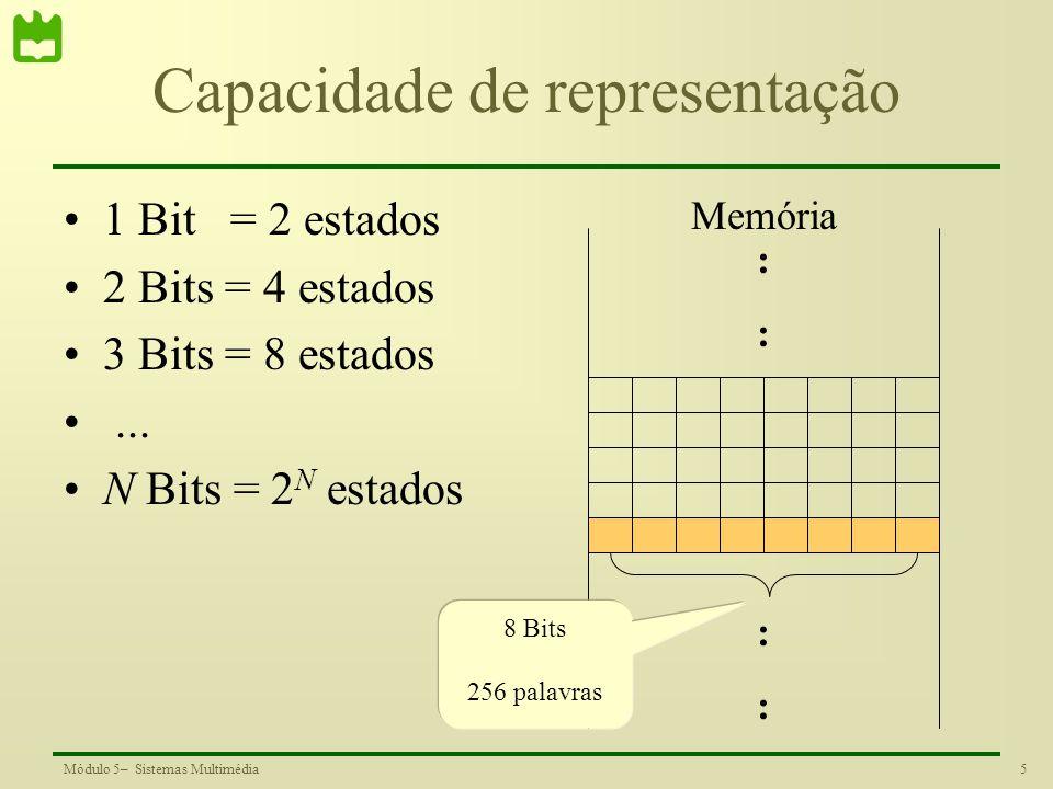 5Módulo 5– Sistemas Multimédia Capacidade de representação 1 Bit = 2 estados 2 Bits = 4 estados 3 Bits = 8 estados... N Bits = 2 N estados :::: :::: 8