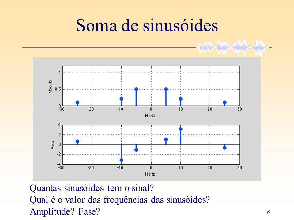 5 Soma de sinusóides Quantas sinusóides tem o sinal Qual é o valor das frequências das sinusóides