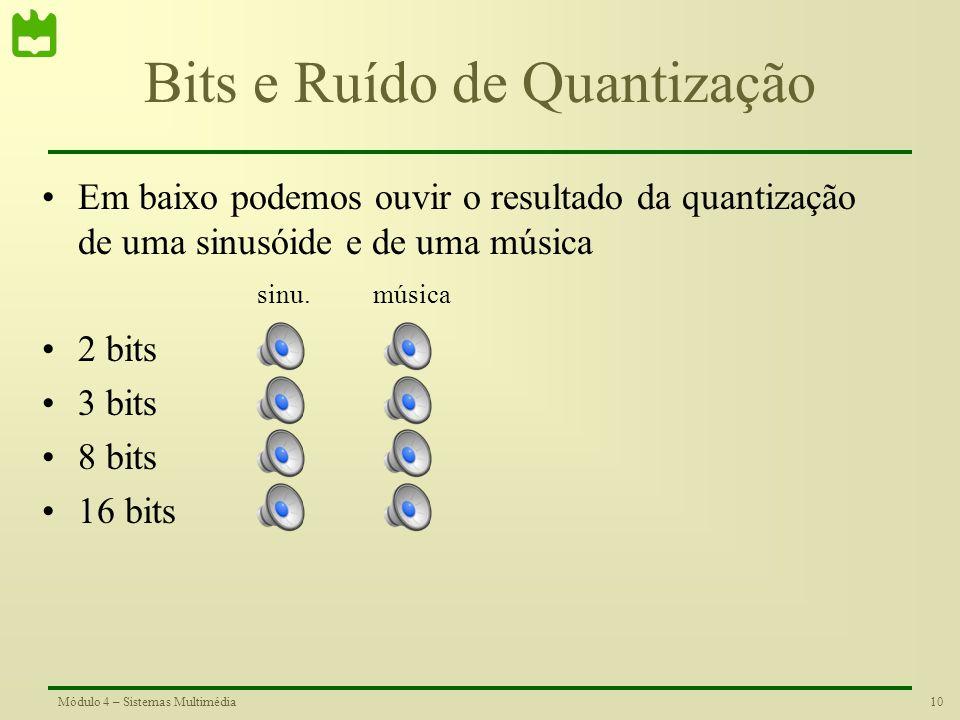 9Módulo 4 – Sistemas Multimédia Relação Sinal / Ruído de Quantização Para caracterizar e comparar o efeito do ruído de quantização num sinal, utiliza-