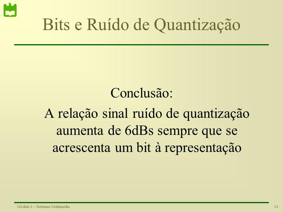 13Módulo 4 – Sistemas Multimédia Bits e Ruído de Quantização Se aumentarmos em um bit a representação quantizada de um sinal, temos que: –O número de