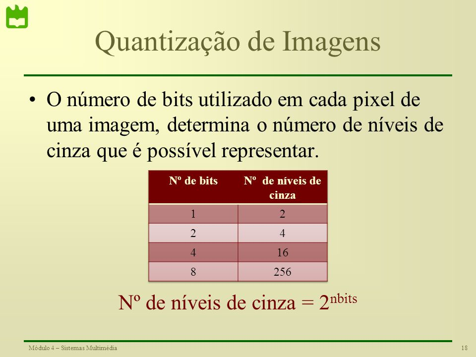 17Módulo 4 – Sistemas Multimédia Quantização Ótima Algoritmo de Lloyd O algoritmo de Lloyd determina de forma iterativa os níveis ótimos de quantizaçã