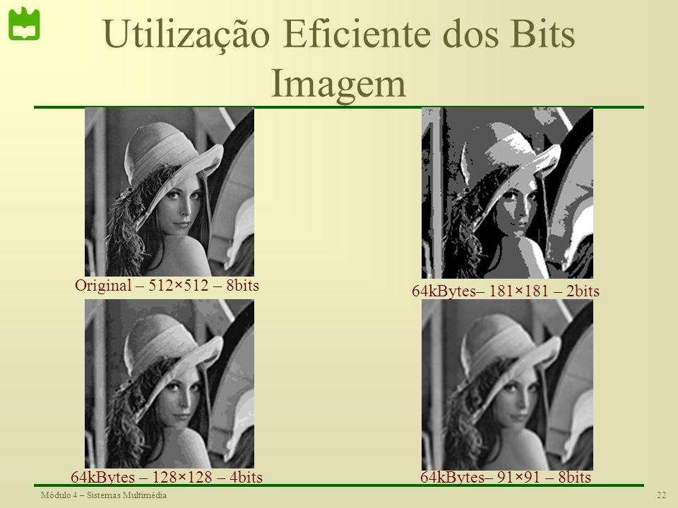 21Módulo 4 – Sistemas Multimédia Como Gastar os Bits Quando se pretende digitalizar uma imagem pode-se colocar a seguinte questão: Como utilizar os bi