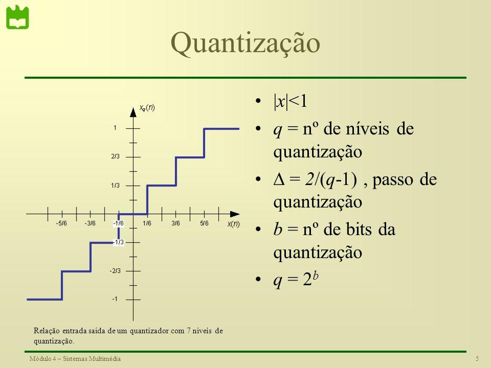 4Módulo 4 – Sistemas Multimédia Quantização Sinusóide quantizada x(n) – Sinal original x q (n) – Sinal quantizado e(n) – Erro de quantização Sinusóide