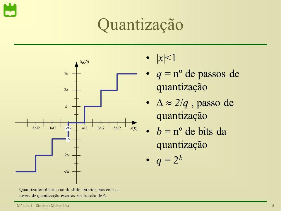 5Módulo 4 – Sistemas Multimédia Quantização |x|<1 q = nº de níveis de quantização = 2/(q-1), passo de quantização b = nº de bits da quantização q = 2