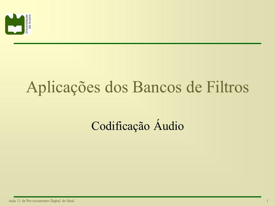 1Aula 11 de Processamento Digital de Sinal Aplicações dos Bancos de Filtros Codificação Áudio