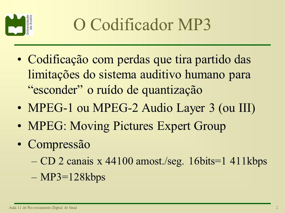 2Aula 11 de Processamento Digital de Sinal O Codificador MP3 Codificação com perdas que tira partido das limitações do sistema auditivo humano para esconder o ruído de quantização MPEG-1 ou MPEG-2 Audio Layer 3 (ou III) MPEG: Moving Pictures Expert Group Compressão –CD 2 canais x 44100 amost./seg.