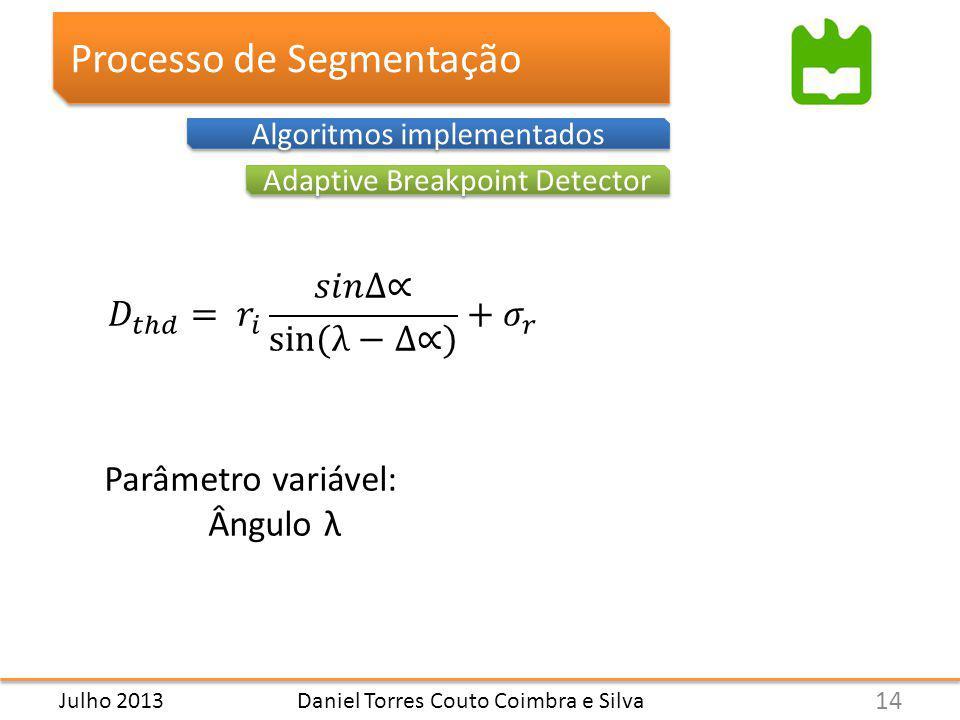 Daniel Torres Couto Coimbra e Silva Processo de Segmentação Adaptive Breakpoint Detector Algoritmos implementados Parâmetro variável: Ângulo λ 14 Julho 2013