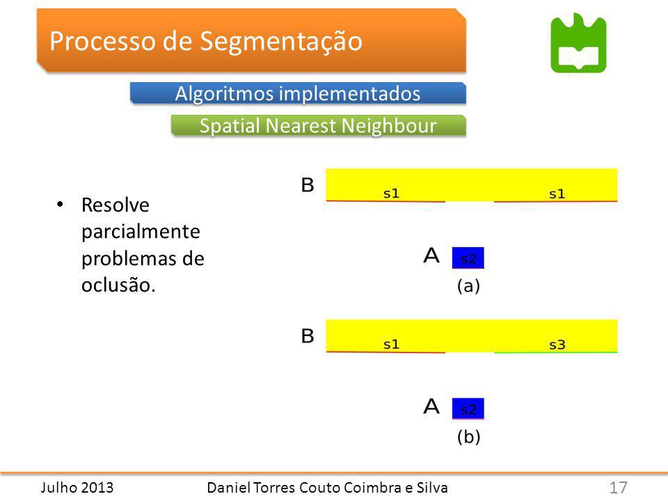 Processo de Segmentação Spatial Nearest Neighbour Algoritmos implementados Resolve parcialmente problemas de oclusão.