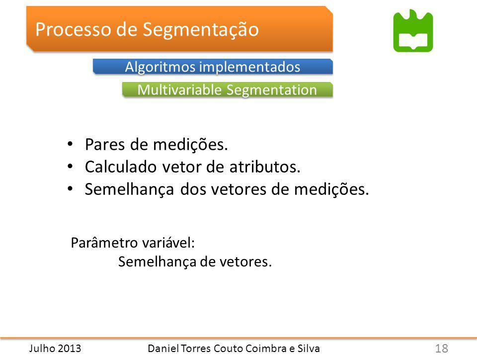 Daniel Torres Couto Coimbra e Silva Processo de Segmentação Multivariable Segmentation Algoritmos implementados Pares de medições.
