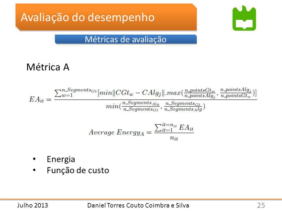 Avaliação do desempenho Métricas de avaliação Daniel Torres Couto Coimbra e Silva Métrica A 25 Julho 2013 Energia Função de custo