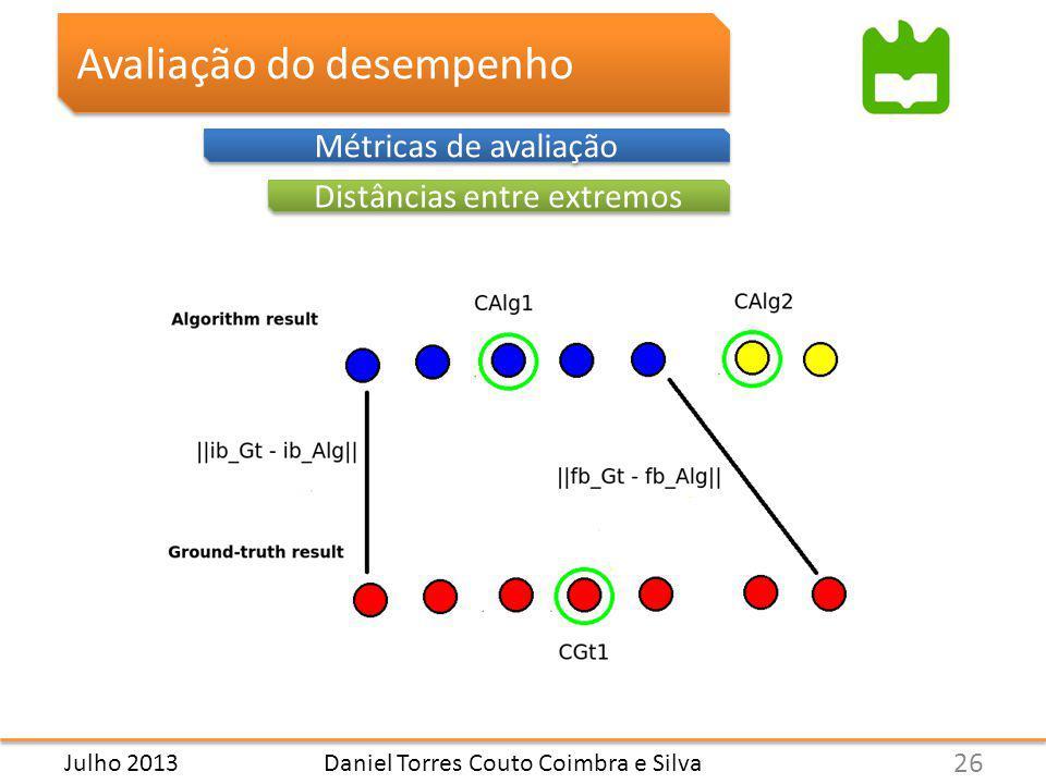 Avaliação do desempenho Métricas de avaliação Distâncias entre extremos Daniel Torres Couto Coimbra e Silva 26 Julho 2013