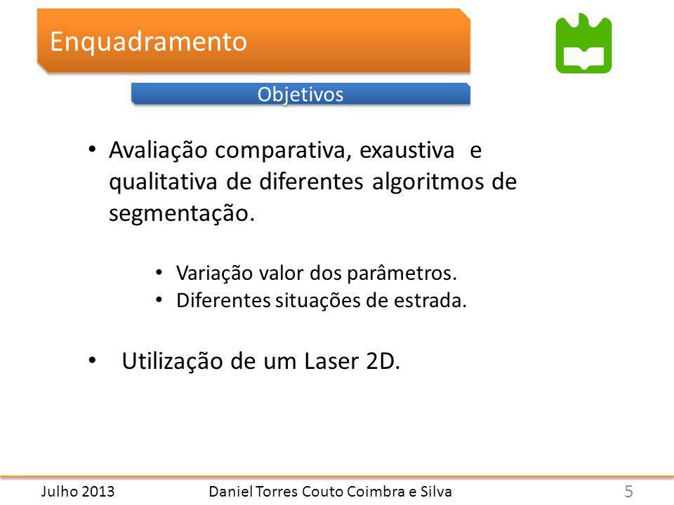 Enquadramento Objetivos Daniel Torres Couto Coimbra e Silva Avaliação comparativa, exaustiva e qualitativa de diferentes algoritmos de segmentação.