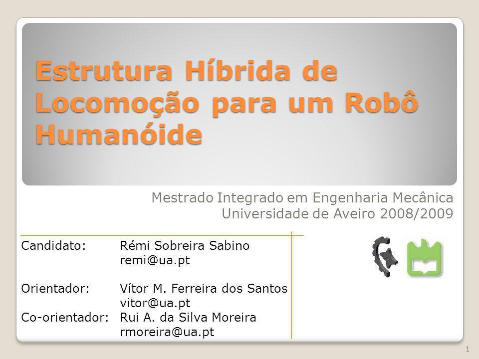 Proposta 1- Introdução 2- Desenvolvimento da estrutura mecânica 3- Implementação da actuação passiva 4- Dimensionamento dos actuadores passivos 5- Resultados, conclusões e perspectivas futuras Estrutura Híbrida de Locomoção para um Robô Humanóide – Rémi Sabino 18/12/09 2