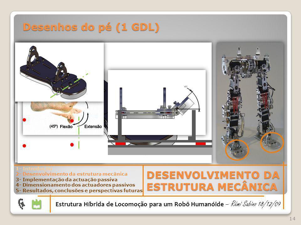14 DESENVOLVIMENTO DA ESTRUTURA MECÂNICA Estrutura Híbrida de Locomoção para um Robô Humanóide – Rémi Sabino 18/12/09 1- Introdução 2- Desenvolvimento
