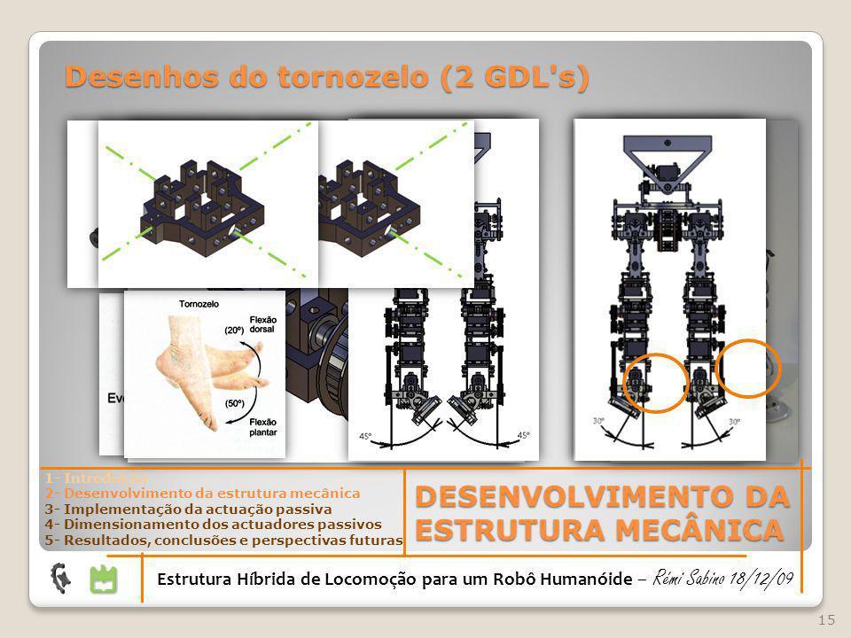 15 DESENVOLVIMENTO DA ESTRUTURA MECÂNICA Estrutura Híbrida de Locomoção para um Robô Humanóide – Rémi Sabino 18/12/09 1- Introdução 2- Desenvolvimento