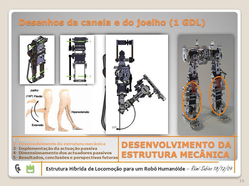 16 DESENVOLVIMENTO DA ESTRUTURA MECÂNICA Estrutura Híbrida de Locomoção para um Robô Humanóide – Rémi Sabino 18/12/09 1- Introdução 2- Desenvolvimento