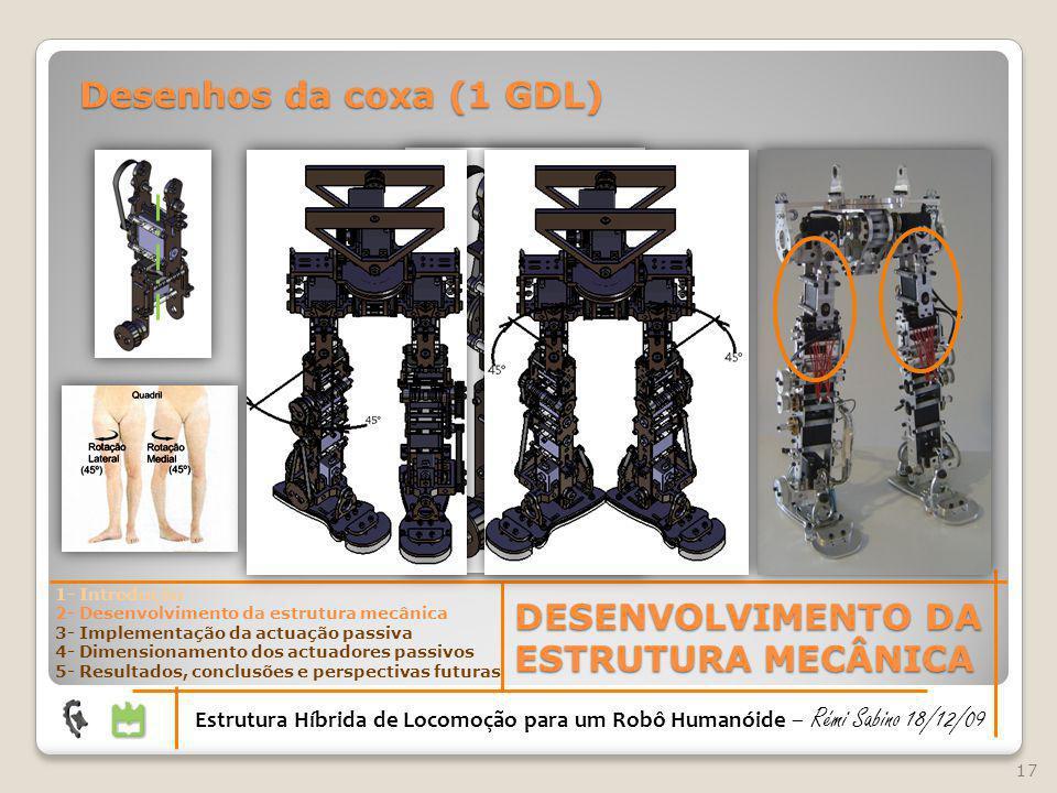 17 DESENVOLVIMENTO DA ESTRUTURA MECÂNICA Estrutura Híbrida de Locomoção para um Robô Humanóide – Rémi Sabino 18/12/09 1- Introdução 2- Desenvolvimento