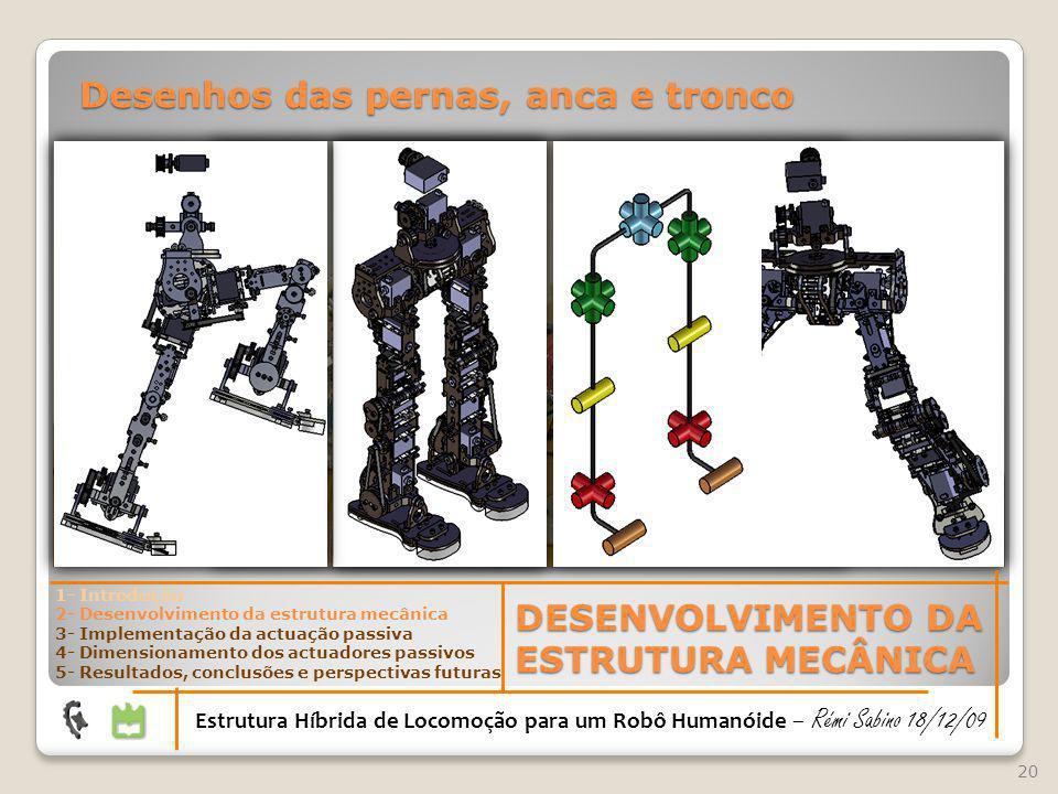 20 DESENVOLVIMENTO DA ESTRUTURA MECÂNICA Estrutura Híbrida de Locomoção para um Robô Humanóide – Rémi Sabino 18/12/09 1- Introdução 2- Desenvolvimento