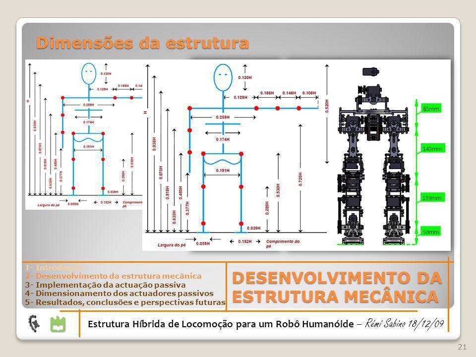 21 DESENVOLVIMENTO DA ESTRUTURA MECÂNICA Estrutura Híbrida de Locomoção para um Robô Humanóide – Rémi Sabino 18/12/09 1- Introdução 2- Desenvolvimento