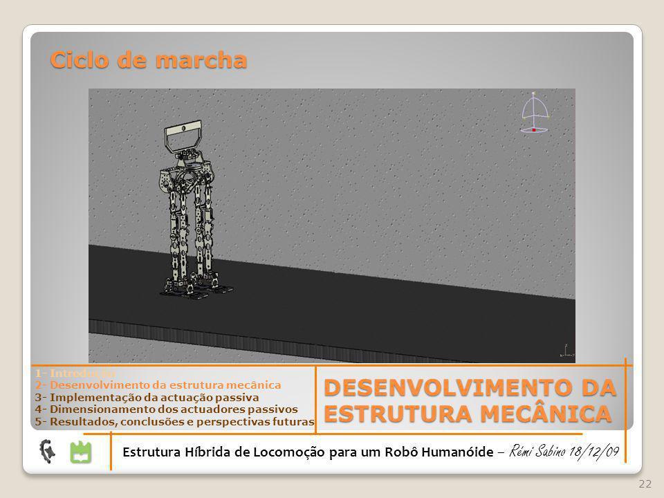 22 Estrutura Híbrida de Locomoção para um Robô Humanóide – Rémi Sabino 18/12/09 Ciclo de marcha DESENVOLVIMENTO DA ESTRUTURA MECÂNICA 1- Introdução 2-