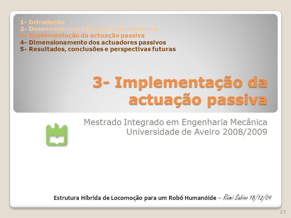 3- Implementação da actuação passiva Mestrado Integrado em Engenharia Mecânica Universidade de Aveiro 2008/2009 23 Estrutura Híbrida de Locomoção para