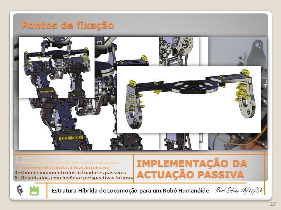25 Estrutura Híbrida de Locomoção para um Robô Humanóide – Rémi Sabino 18/12/09 IMPLEMENTAÇÃO DA ACTUAÇÃO PASSIVA Pontos de fixação 1- Introdução 2- D