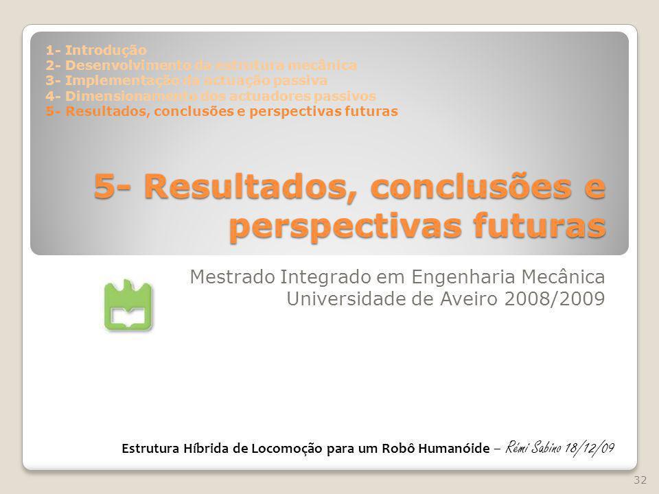 5- Resultados, conclusões e perspectivas futuras Mestrado Integrado em Engenharia Mecânica Universidade de Aveiro 2008/2009 32 Estrutura Híbrida de Lo