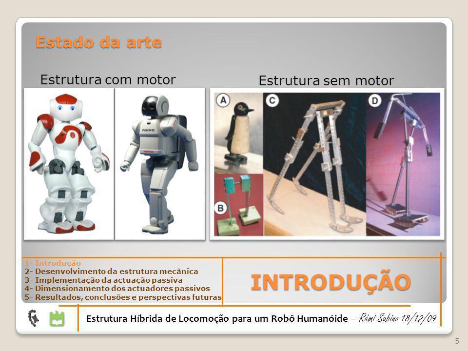 Estado da arte Estrutura sem motor Estrutura com motor 5 INTRODUÇÃO Estrutura Híbrida de Locomoção para um Robô Humanóide – Rémi Sabino 18/12/09 1- In