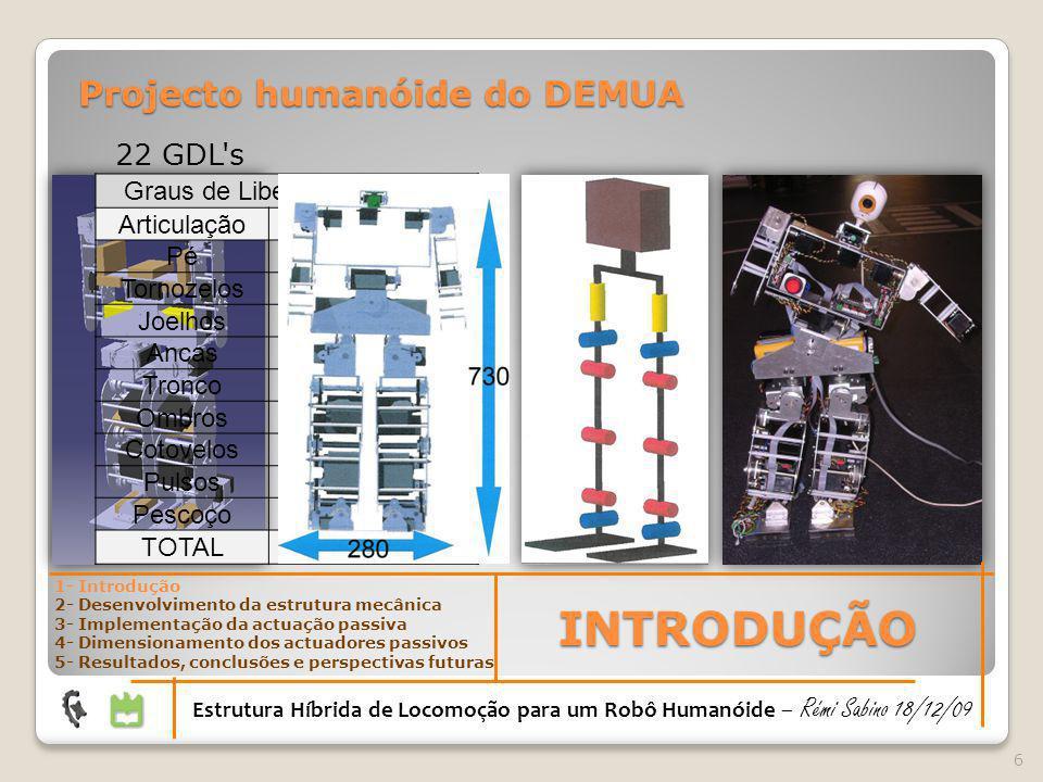 7 Robôs optimizados Robôs activos Robôs activos com exploração de dinâmica natural Robôs passivos Robôs passivos actuados Robôs passivos controlados INTRODUÇÃO Estrutura Híbrida de Locomoção para um Robô Humanóide – Rémi Sabino 18/12/09 1- Introdução 2- Desenvolvimento da estrutura mecânica 3- Implementação da actuação passiva 4- Dimensionamento dos actuadores passivos 5- Resultados, conclusões e perspectivas futuras Evolução das estruturas humanóides