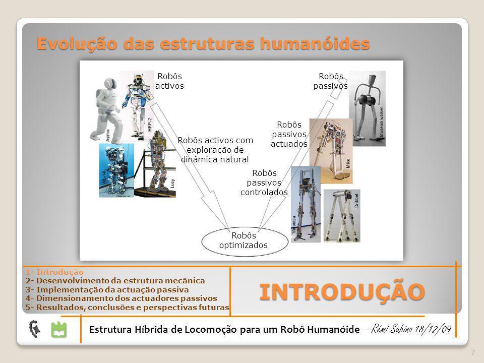 18 DESENVOLVIMENTO DA ESTRUTURA MECÂNICA Estrutura Híbrida de Locomoção para um Robô Humanóide – Rémi Sabino 18/12/09 1- Introdução 2- Desenvolvimento da estrutura mecânica 3- Implementação da actuação passiva 4- Dimensionamento dos actuadores passivos 5- Resultados, conclusões e perspectivas futuras Desenhos da anca (2x2 + 1 GDLs)