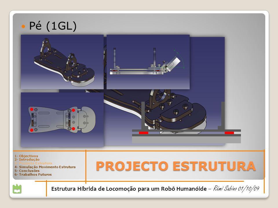 PROJECTO ESTRUTURA Estrutura Híbrida de Locomoção para um Robô Humanóide – Rémi Sabino 01/10/09 Pé (1GL) 1- Objectivos 2- Introdução 3- Projecto Estru