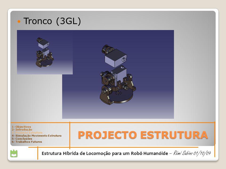 PROJECTO ESTRUTURA Estrutura Híbrida de Locomoção para um Robô Humanóide – Rémi Sabino 01/10/09 Tronco (3GL) 1- Objectivos 2- Introdução 3- Projecto Estrutura 4- Simulação Movimento Estrutura 5- Conclusões 6- Trabalhos Futuros