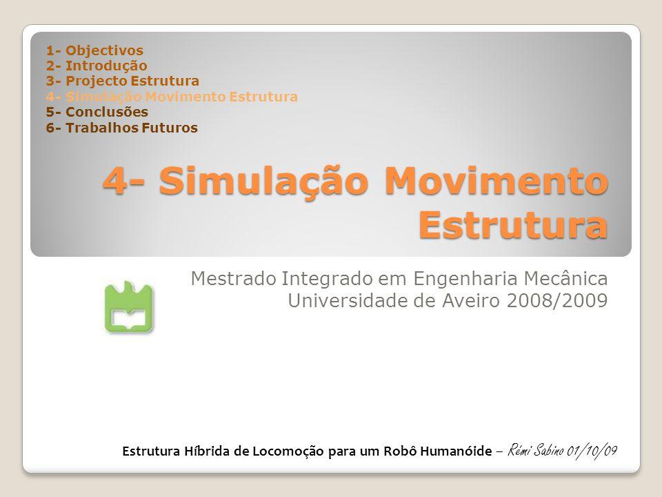 4- Simulação Movimento Estrutura Mestrado Integrado em Engenharia Mecânica Universidade de Aveiro 2008/2009 1- Objectivos 2- Introdução 3- Projecto Estrutura 4- Simulação Movimento Estrutura 5- Conclusões 6- Trabalhos Futuros Estrutura Híbrida de Locomoção para um Robô Humanóide – Rémi Sabino 01/10/09