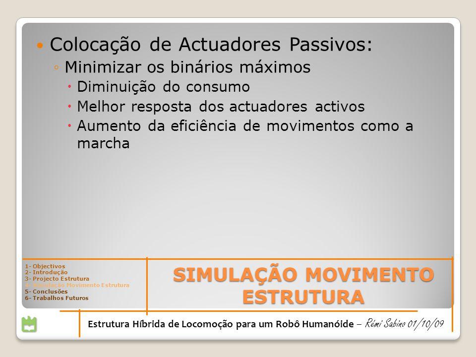 SIMULAÇÃO MOVIMENTO ESTRUTURA Estrutura Híbrida de Locomoção para um Robô Humanóide – Rémi Sabino 01/10/09 Colocação de Actuadores Passivos: Minimizar
