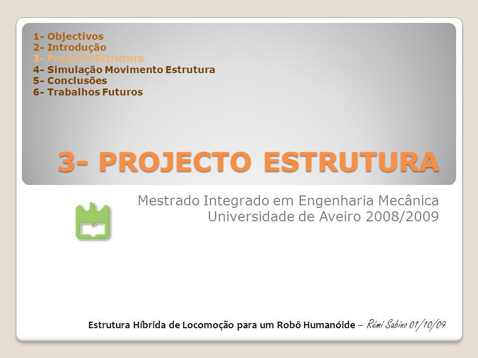 3- PROJECTO ESTRUTURA Mestrado Integrado em Engenharia Mecânica Universidade de Aveiro 2008/2009 1- Objectivos 2- Introdução 3- Projecto Estrutura 4-