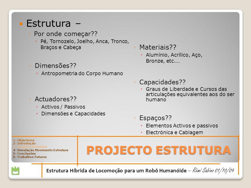Estrutura – Por onde começar?? Pé, Tornozelo, Joelho, Anca, Tronco, Braços e Cabeça Materiais?? Alumínio, Acrílico, Aço, Bronze, etc.… Dimensões?? Ant